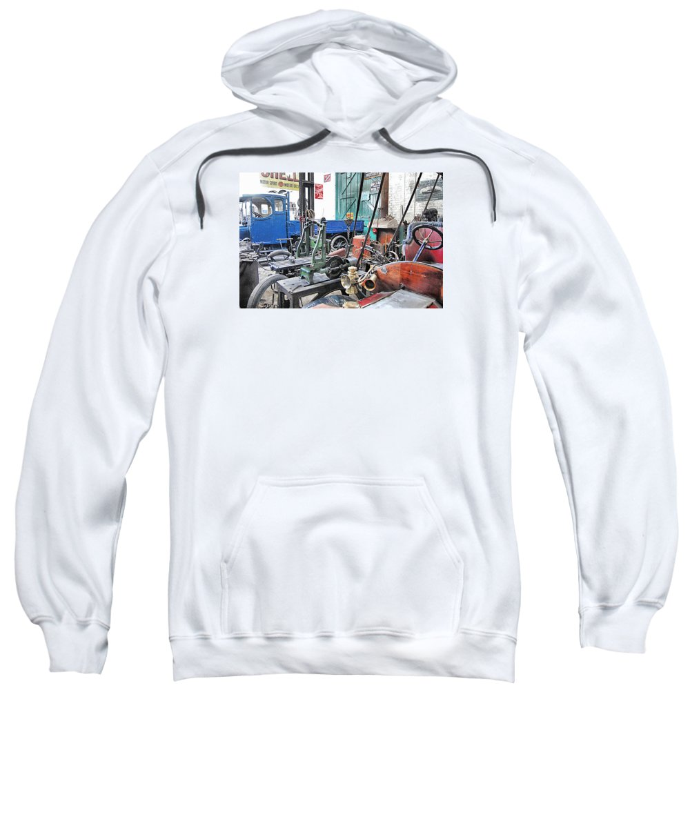 Age Of Steam Sweatshirt featuring the photograph Vintage Workshop In Colour by John Lynch