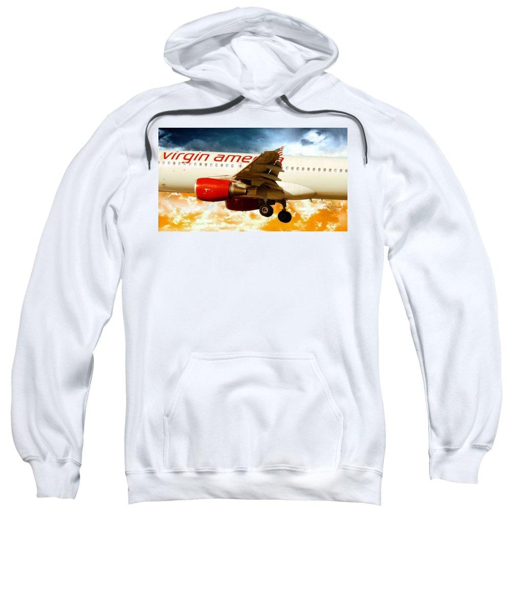 Virgin America Mach Daddy Sweatshirt featuring the photograph Virgin America A320 by Aaron Berg