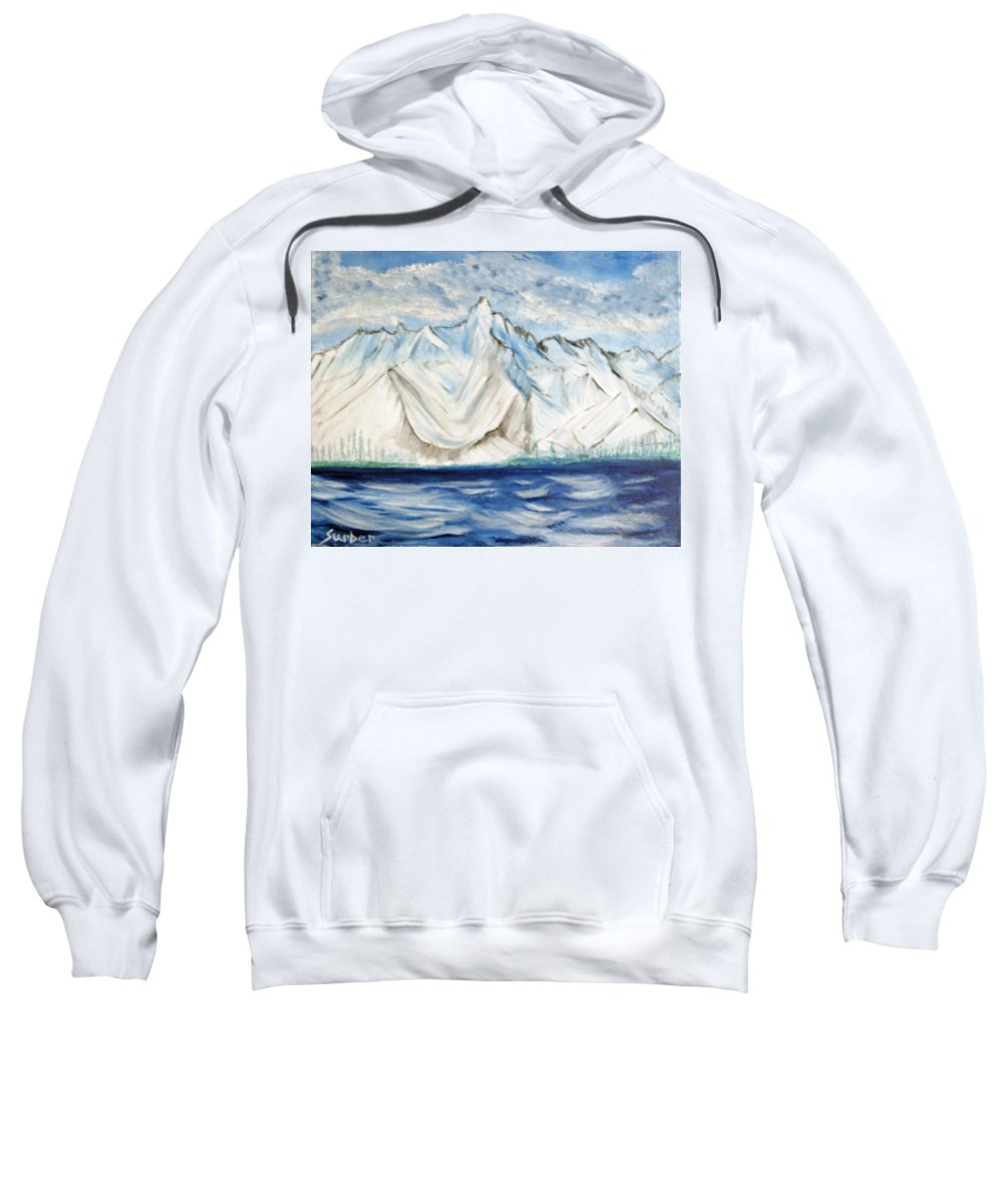 Lake Sweatshirt featuring the painting Vision Of Mountain by Suzanne Surber