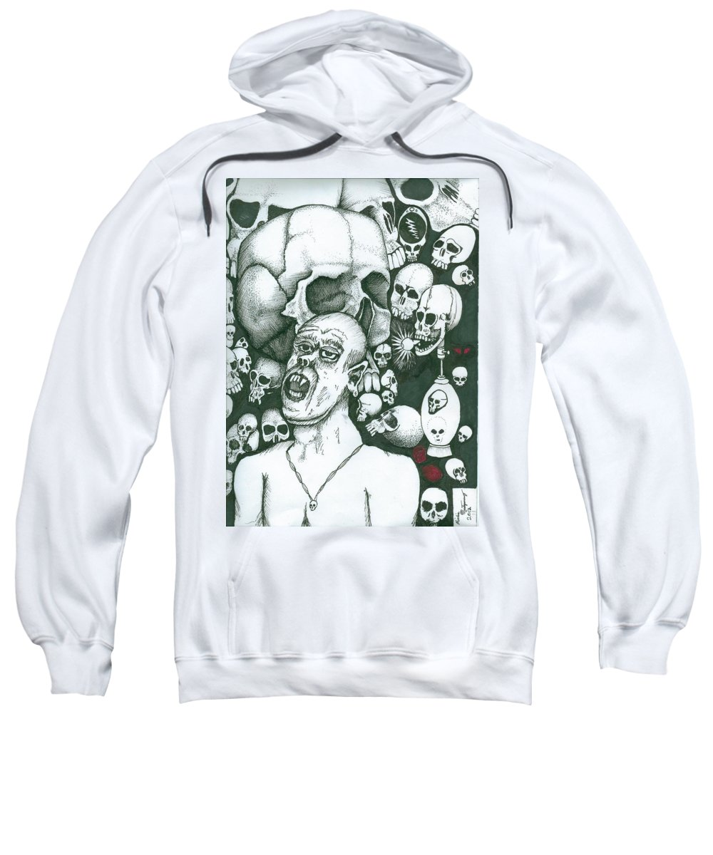 Skull Sweatshirt featuring the painting Visions by Richie Montgomery