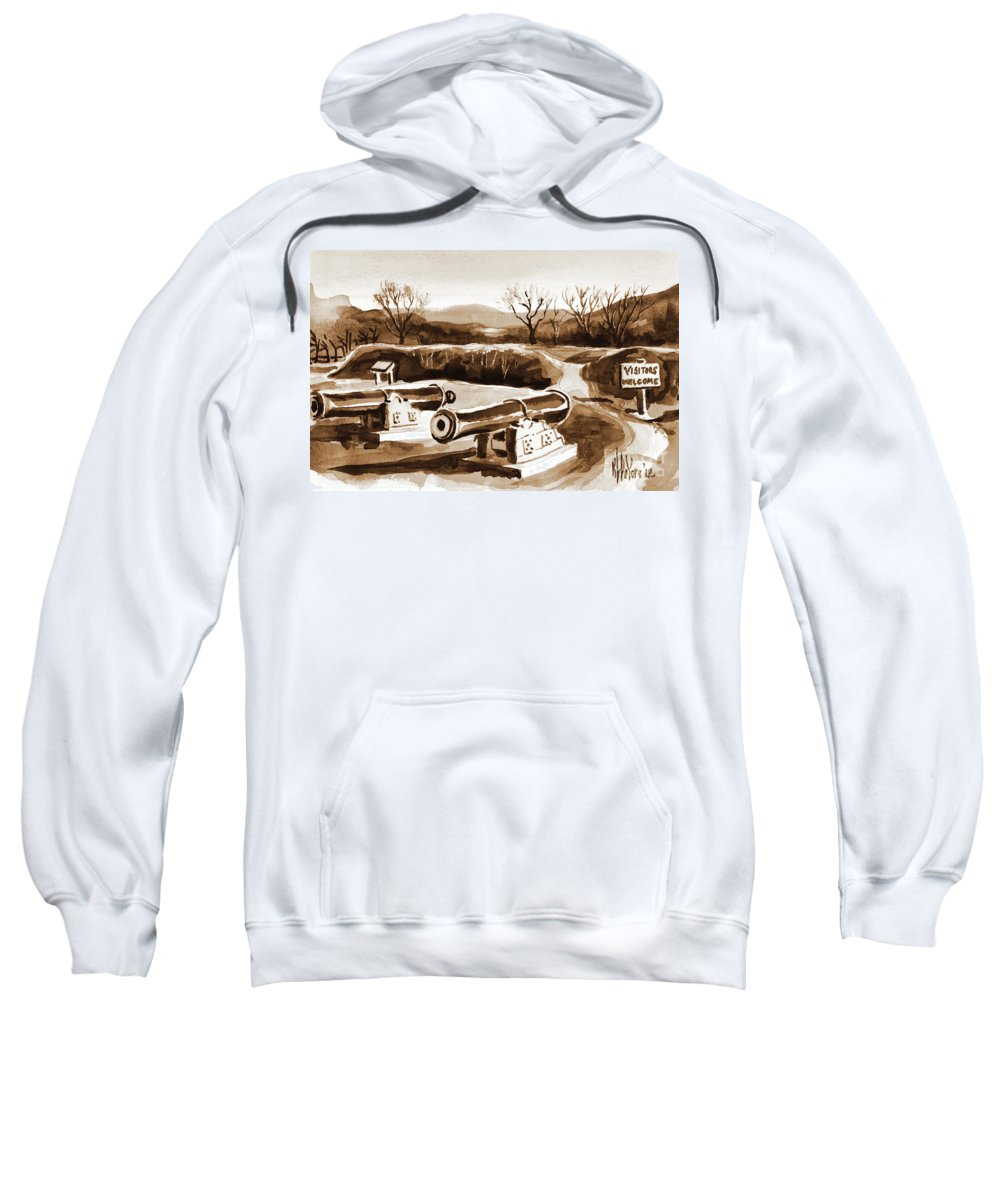 Visitors Welcome In Sepia Sweatshirt featuring the painting Visitors Welcome In Sepia by Kip DeVore