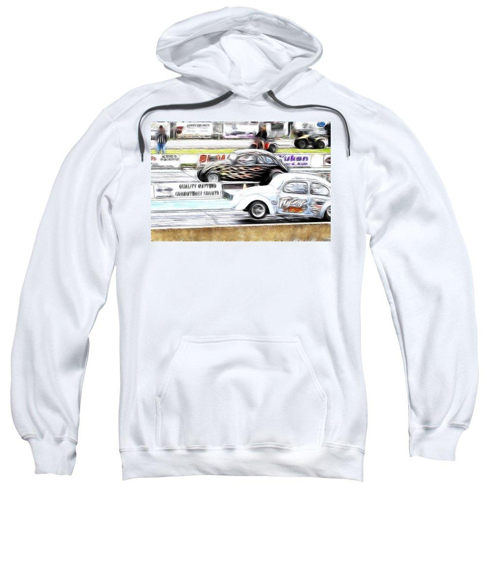 Vw Sweatshirt featuring the photograph Vw Beetle Race by Steve McKinzie