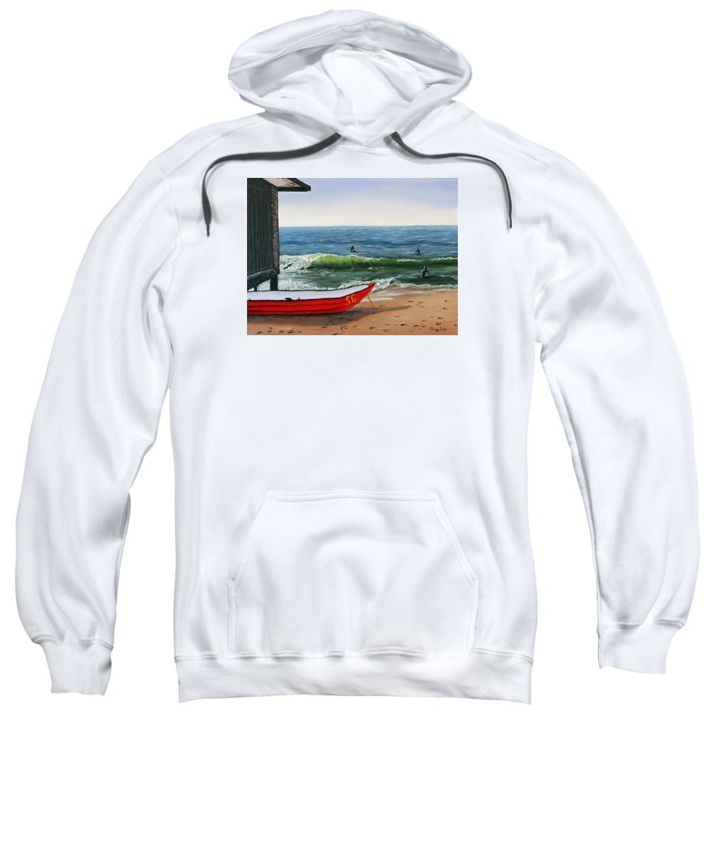 Mixed Media Sweatshirt featuring the painting Waiting To Row by Patricia Pasbrig
