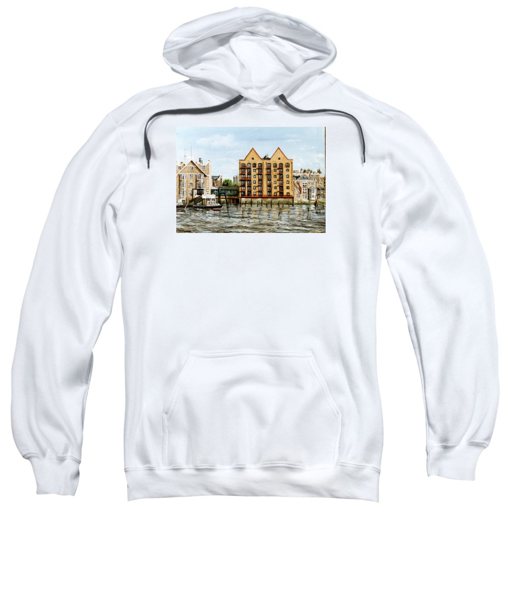Wapping Sweatshirt featuring the painting Wapping Thames Police Station And Rebuilt St Johns Wharf London by Mackenzie Moulton