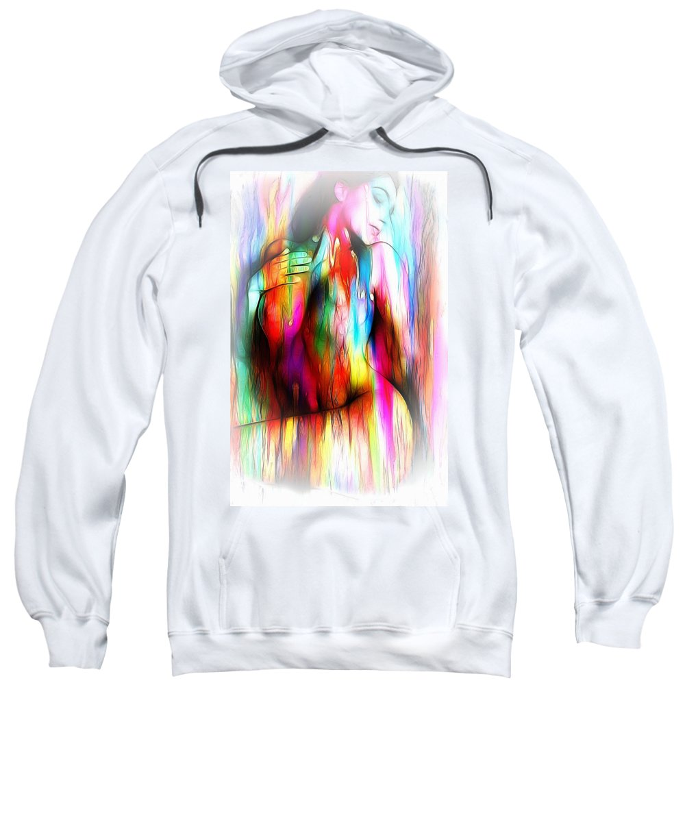 Woman Girl Female Nude Naked Sexy Sensual Color Colorful Erotic Memories Wash Washing Out Curves Boobs Tits Expressionism Impressionism Sweatshirt featuring the painting Washing Out The Memories by Steve K