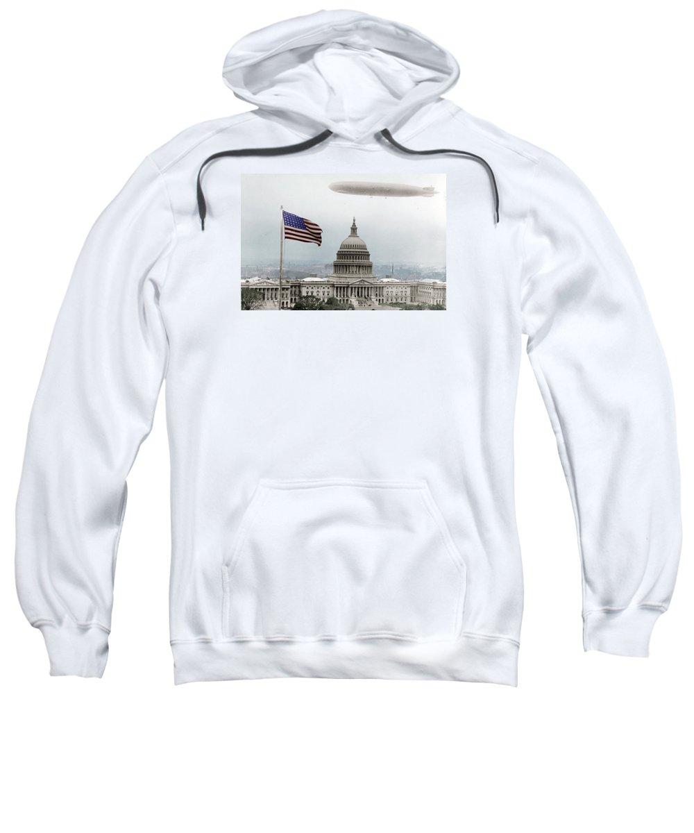 Capitol Sweatshirt featuring the photograph Washington Capitol And Blimp by Tony Rubino