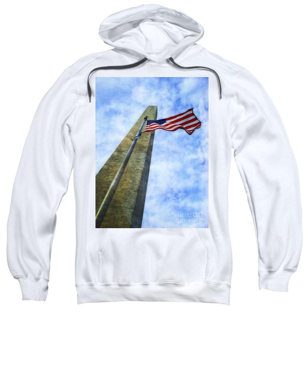 Washington Monument And American Flag Art Sweatshirt featuring the photograph Washington Monument And Flag by Joseph J Stevens