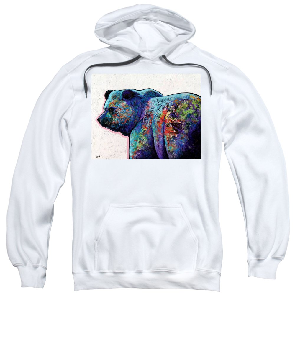 Wildlife Sweatshirt featuring the painting Watchful Eyes - Grizzly Bear by Joe Triano