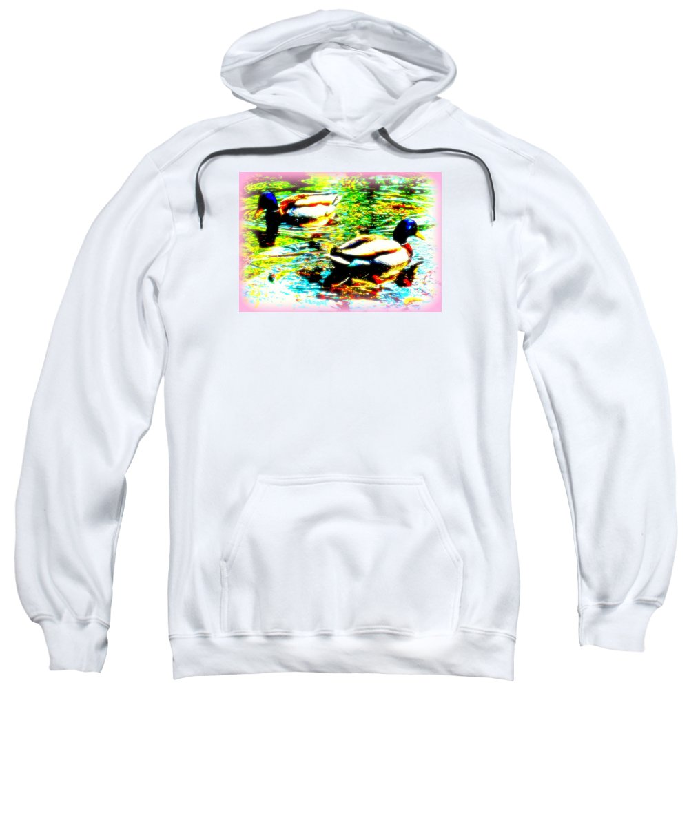 Duck Sweatshirt featuring the photograph So Water Dance Is For Dancing Ducks by Hilde Widerberg
