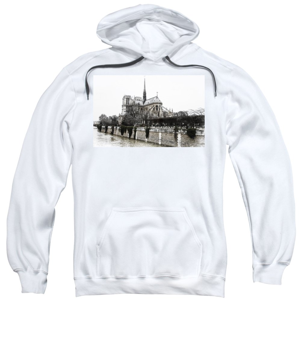 Evie Sweatshirt featuring the photograph Watercolor Notre Dame by Evie Carrier