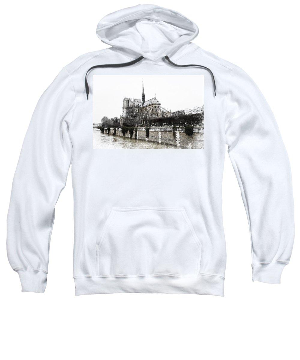 Evie Sweatshirt featuring the photograph Watercolor Notre Dame Paris by Evie Carrier