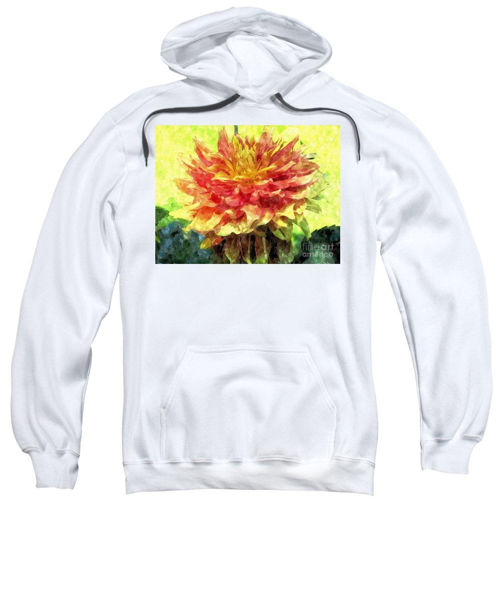 Dahlia Sweatshirt featuring the photograph Watercolor Of Dreamy Dahlia by Elizabeth Dow