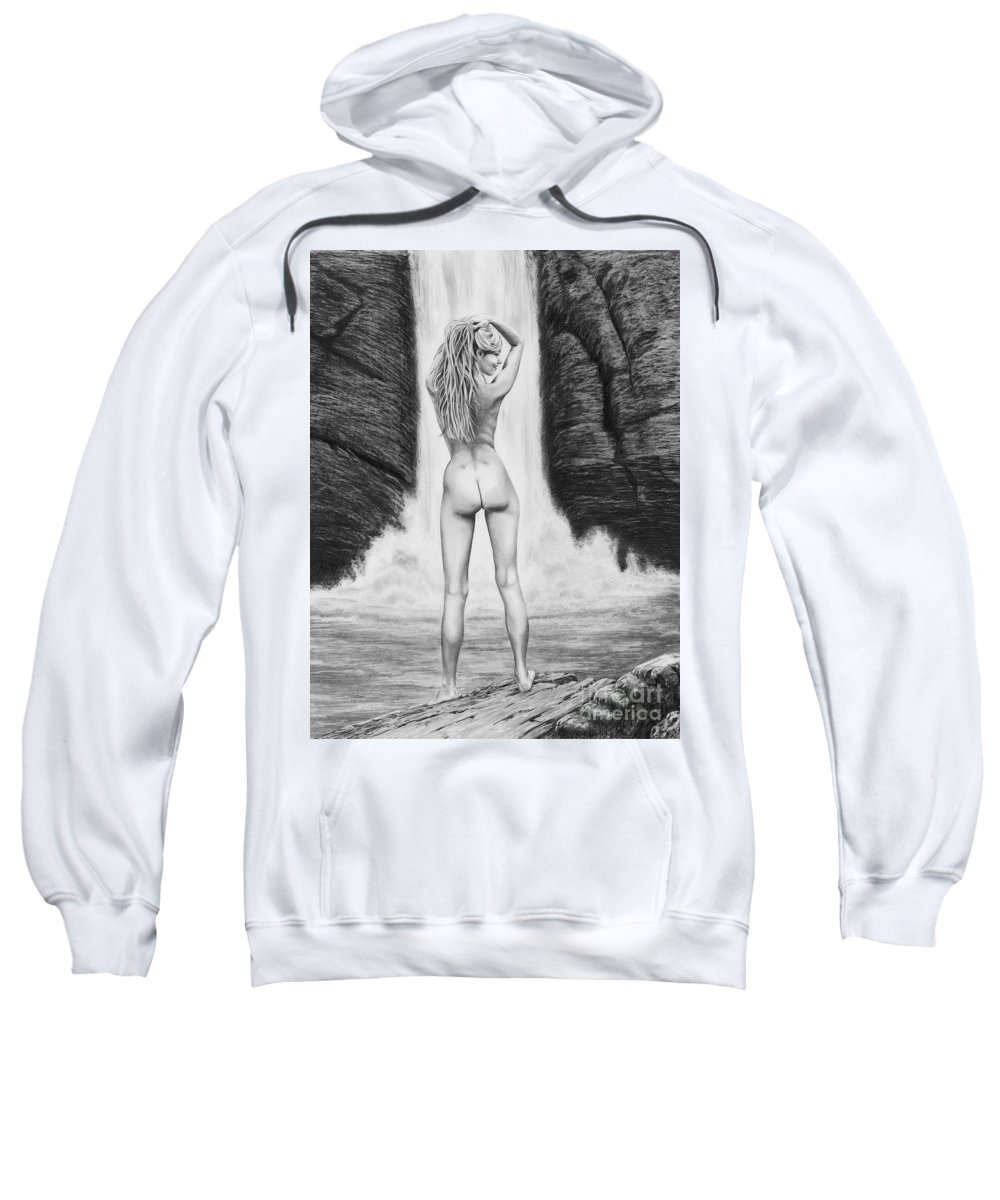 Waterfall Sweatshirt featuring the drawing Waterfall Pin Up Girl by Murphy Elliott
