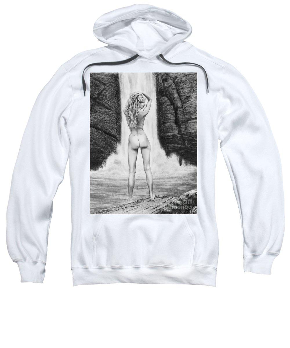 Waterfall Sweatshirt featuring the drawing Waterfall Pin Up Girl by Murphy Elliott