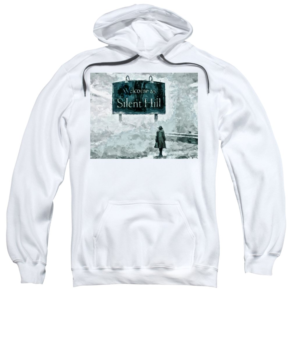 Midnight Streets Sweatshirt featuring the painting Welcome To Silent Hill by Joe Misrasi