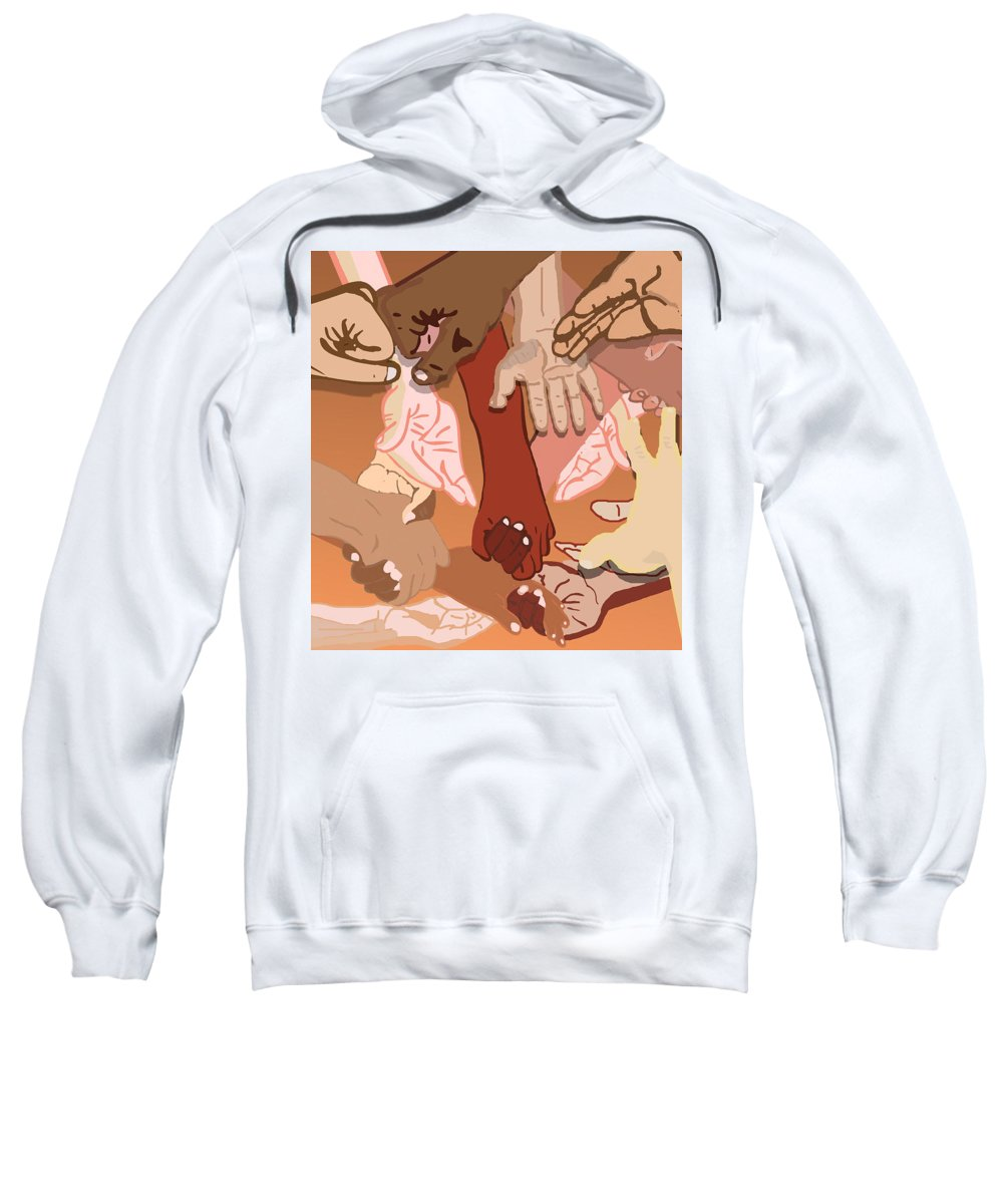 Diversity Art Sweatshirt featuring the painting We're All in This Together by Pharris Art