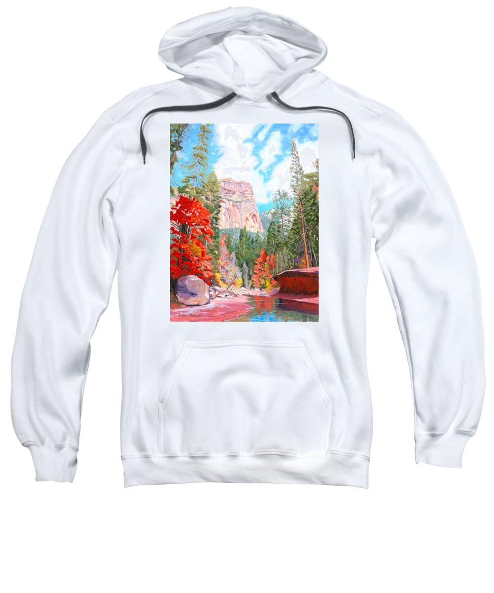 Sedona Sweatshirt featuring the painting West Fork - Sedona by Steve Simon