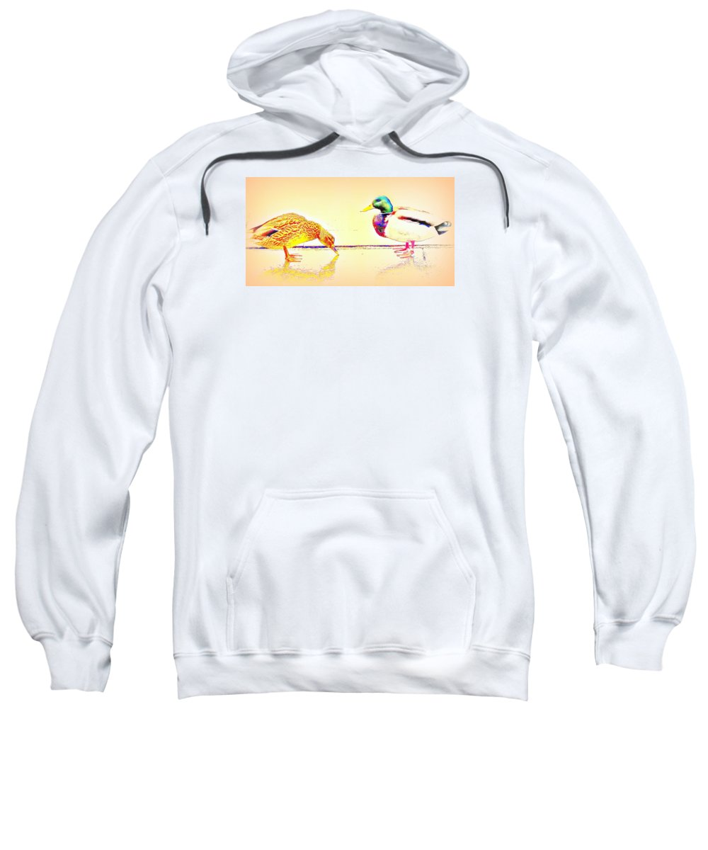Duck Sweatshirt featuring the photograph Whatever You Are Looking For, You Will Find It by Hilde Widerberg