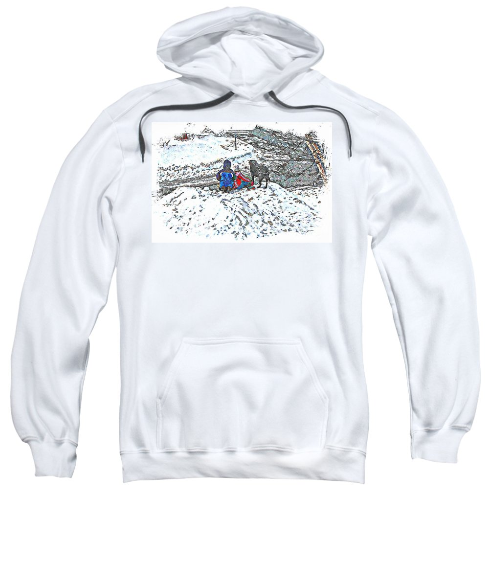 What Fascinates Children And Dogs On A Snow Day Sweatshirt featuring the photograph What Fascinates Children And Dogs - Snow Day - Winter by Barbara Griffin