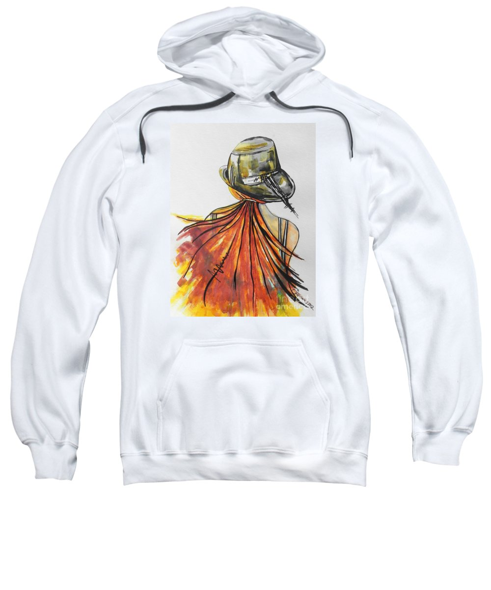 Watercolor Painting Sweatshirt featuring the painting What Lies Ahead Series I Found Me by Chrisann Ellis