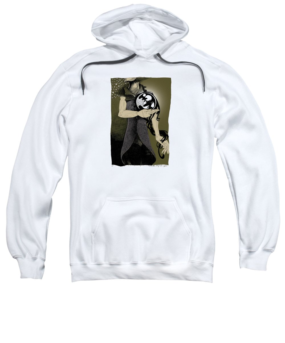 Mysterious Sweatshirt featuring the drawing Where Does She Go At Night? by Ch' Brown
