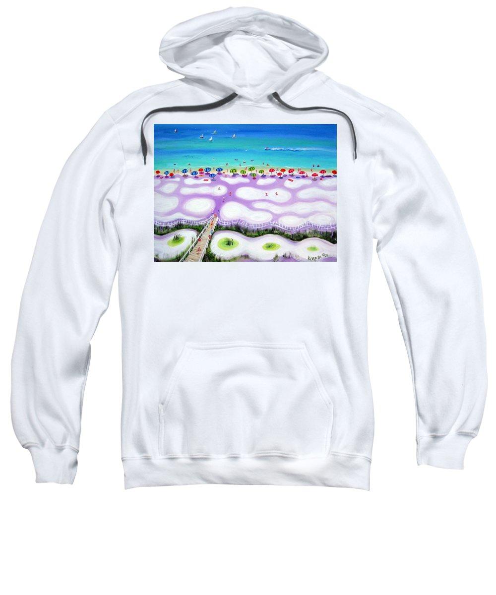 Beach Umbrellas Sweatshirt featuring the painting Whimsical Beach Umbrellas - Seashore by Rebecca Korpita