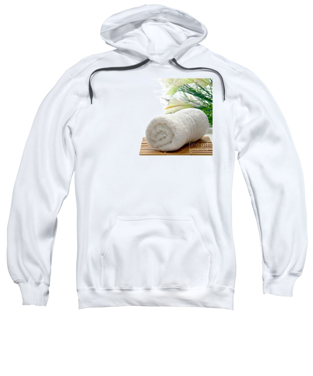 Towel Sweatshirt featuring the photograph White Cotton Towel by Olivier Le Queinec