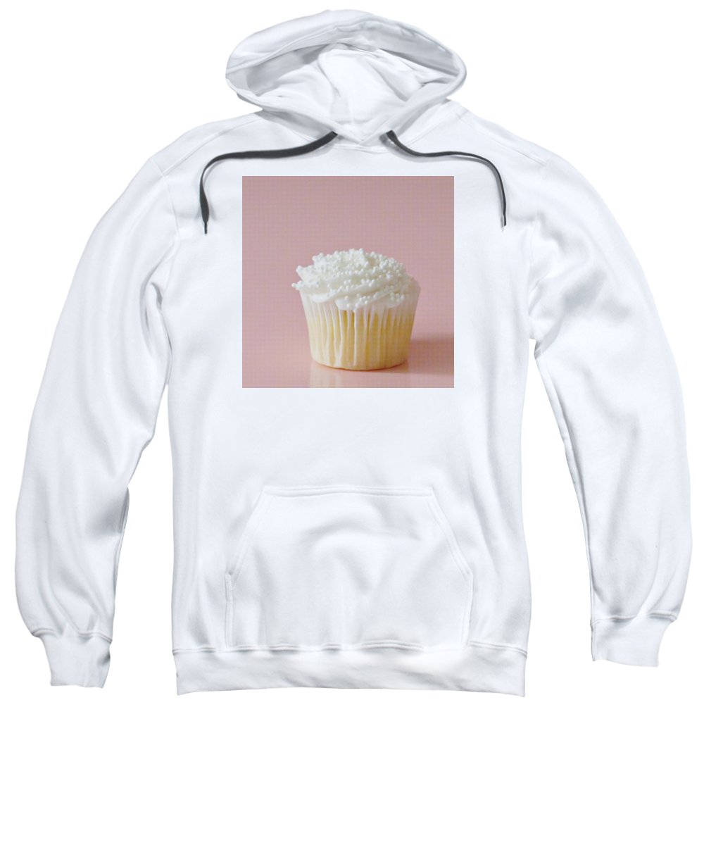 Cupcake Sweatshirt featuring the photograph White Cupcake On Pink by Art Block Collections