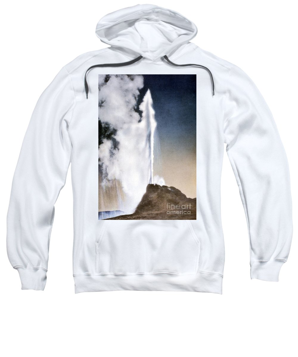 White Dome Geyser Sweatshirt featuring the photograph White Dome Geyser Yellowstone Np by NPS Photo Frank J Haynes