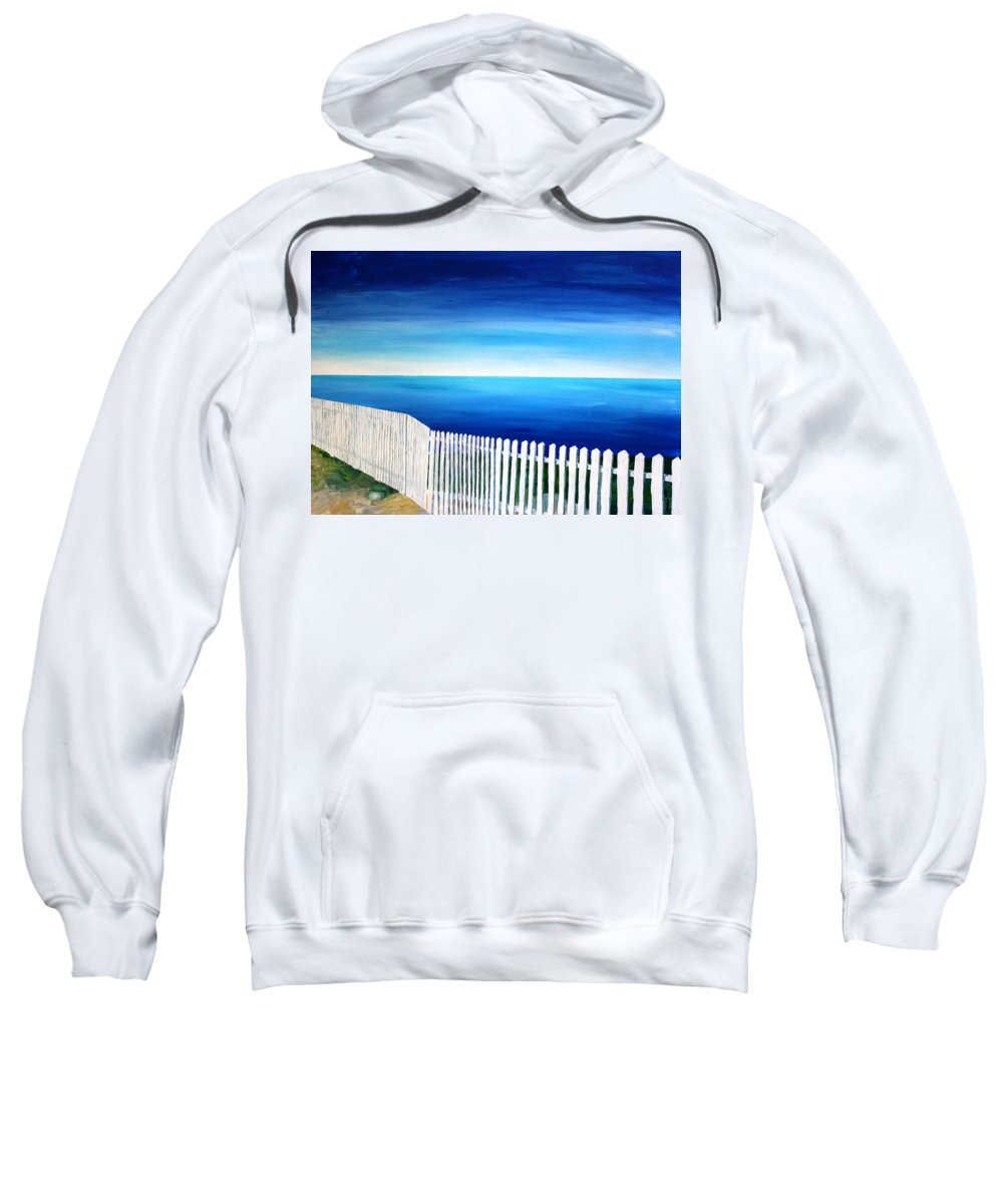 Port Reyes Sweatshirt featuring the painting White Fence In Port Reyes National Seashore California by M Bleichner