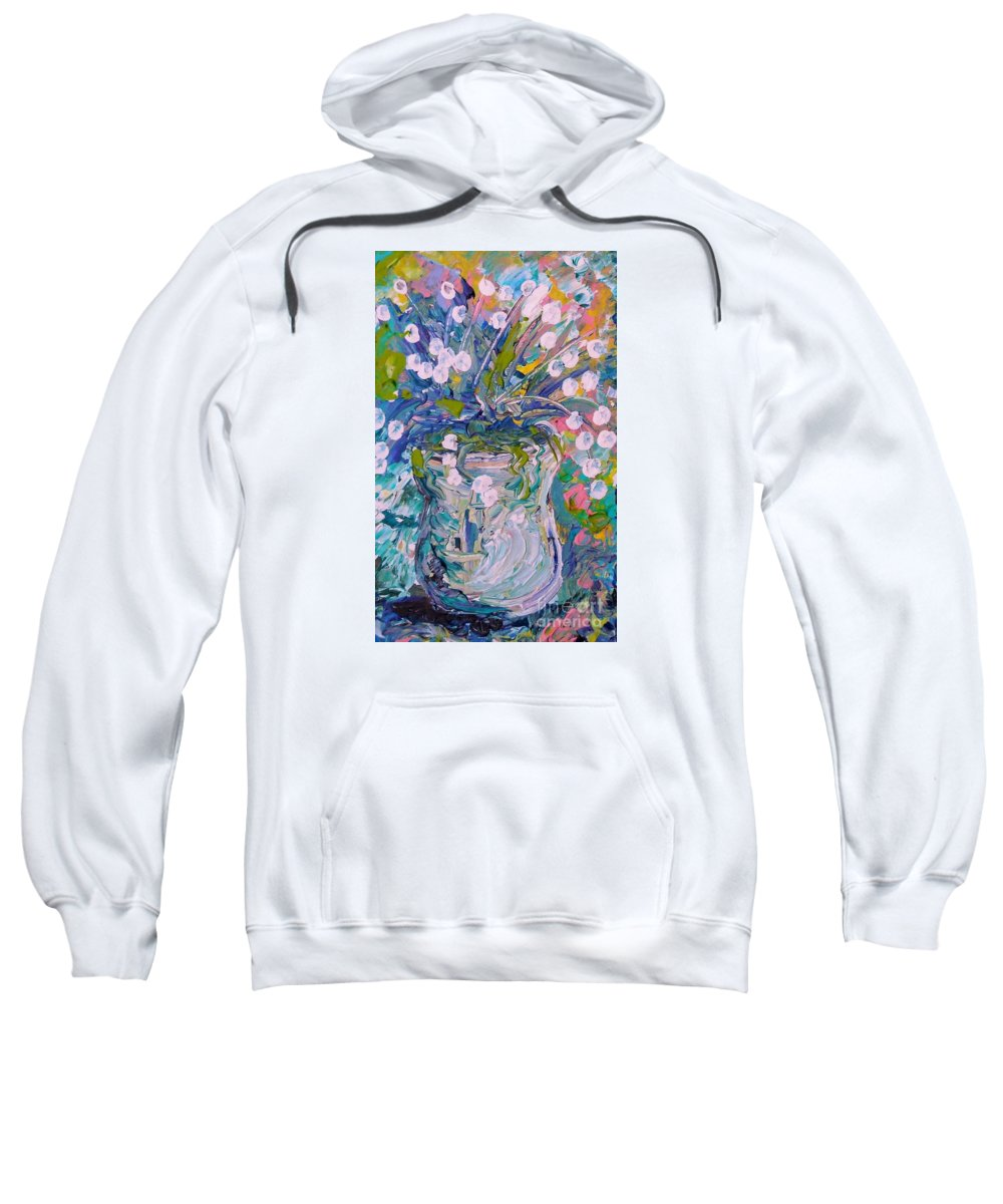 Flower Sweatshirt featuring the painting White Flower Abstract by Eloise Schneider Mote