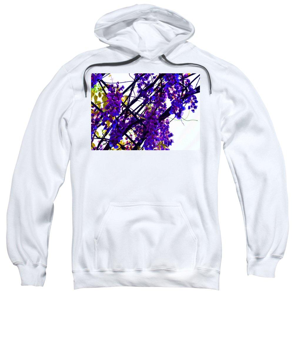 Digital Art Sweatshirt featuring the digital art White Hot Wisteria by Alys Caviness-Gober