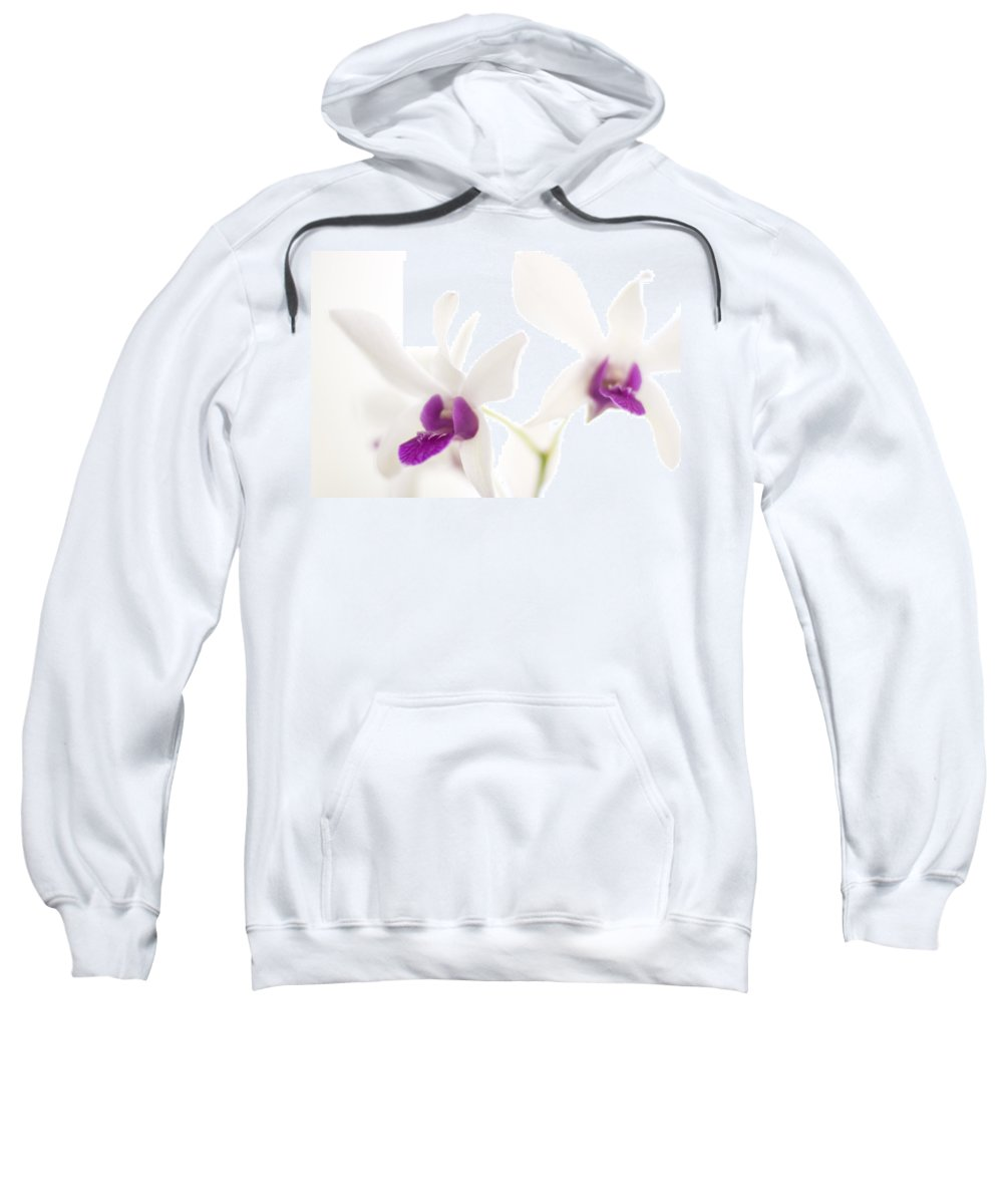 Orchid Sweatshirt featuring the photograph White Orchids by Bradley R Youngberg