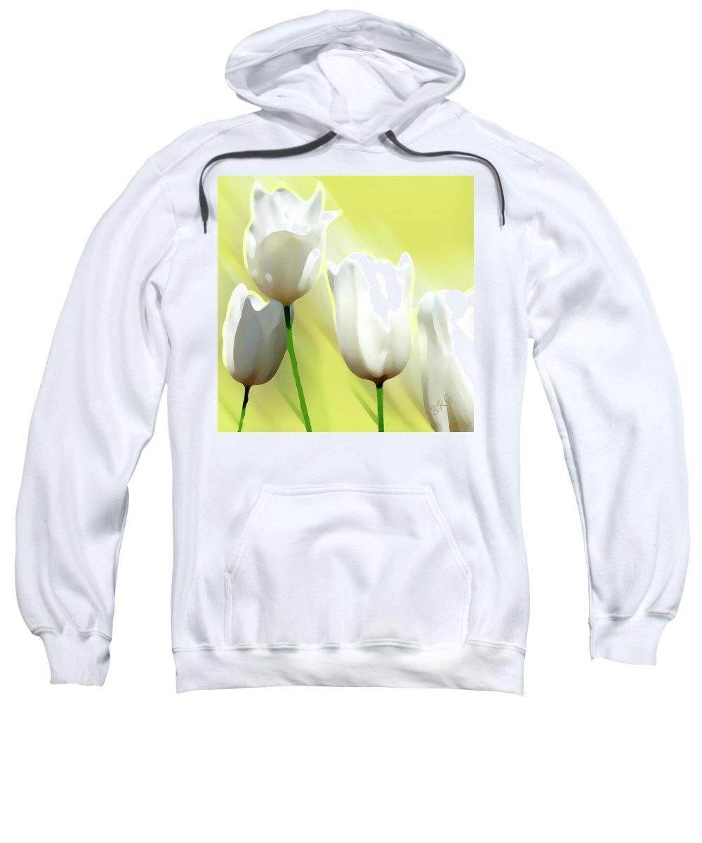 White Flower Sweatshirt featuring the photograph White Tulips by Ben and Raisa Gertsberg