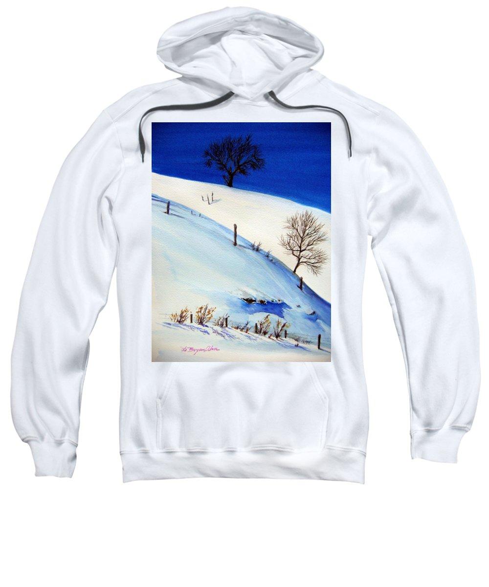 Snow Sweatshirt featuring the painting White World by Bryan Ahn