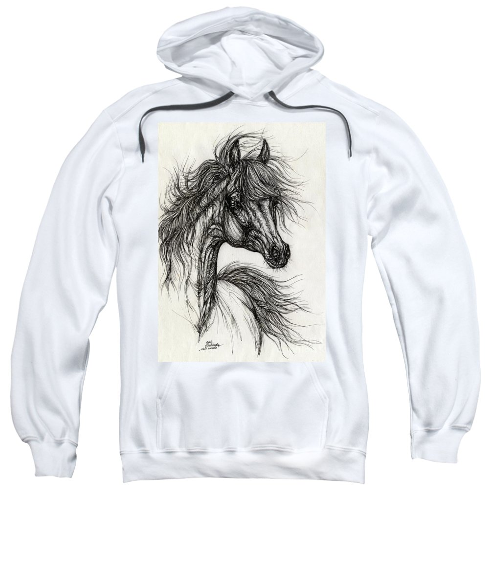 Horse Sweatshirt featuring the drawing Wieza Wiatrow Polish Arabian Mare Drawing by Angel Ciesniarska