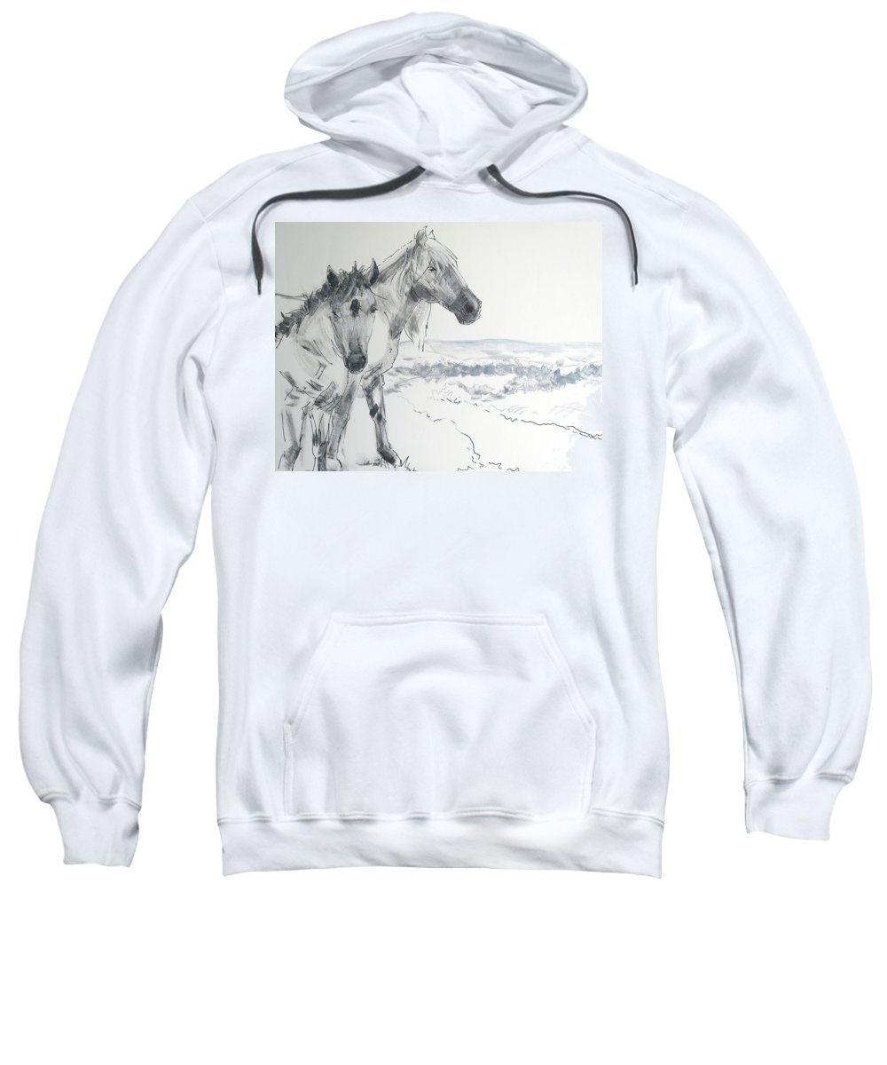 Horse Sweatshirt featuring the painting Wild Horses Drawing by Mike Jory