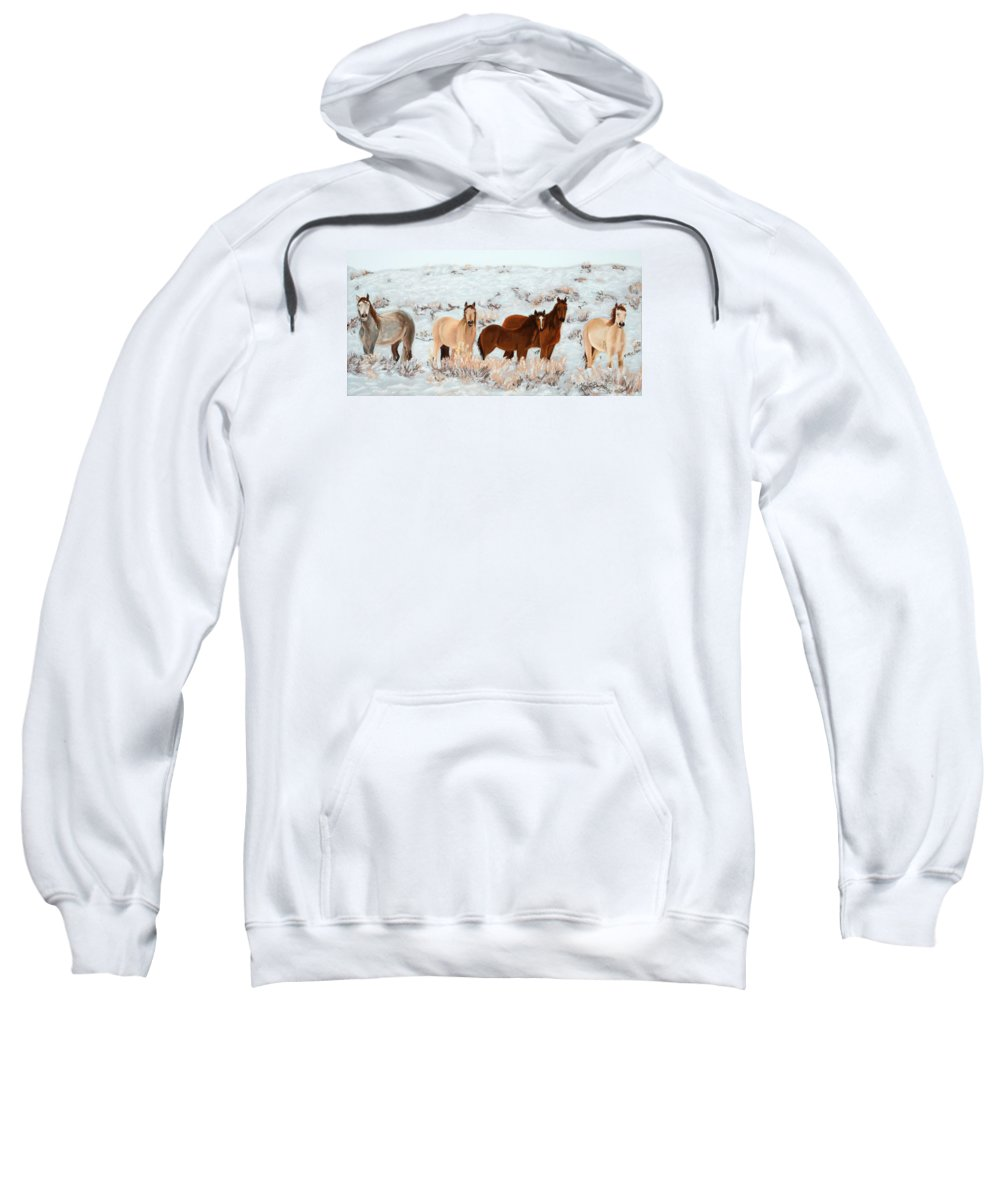 Animals Sweatshirt featuring the painting Wild Horses by Mary Benke