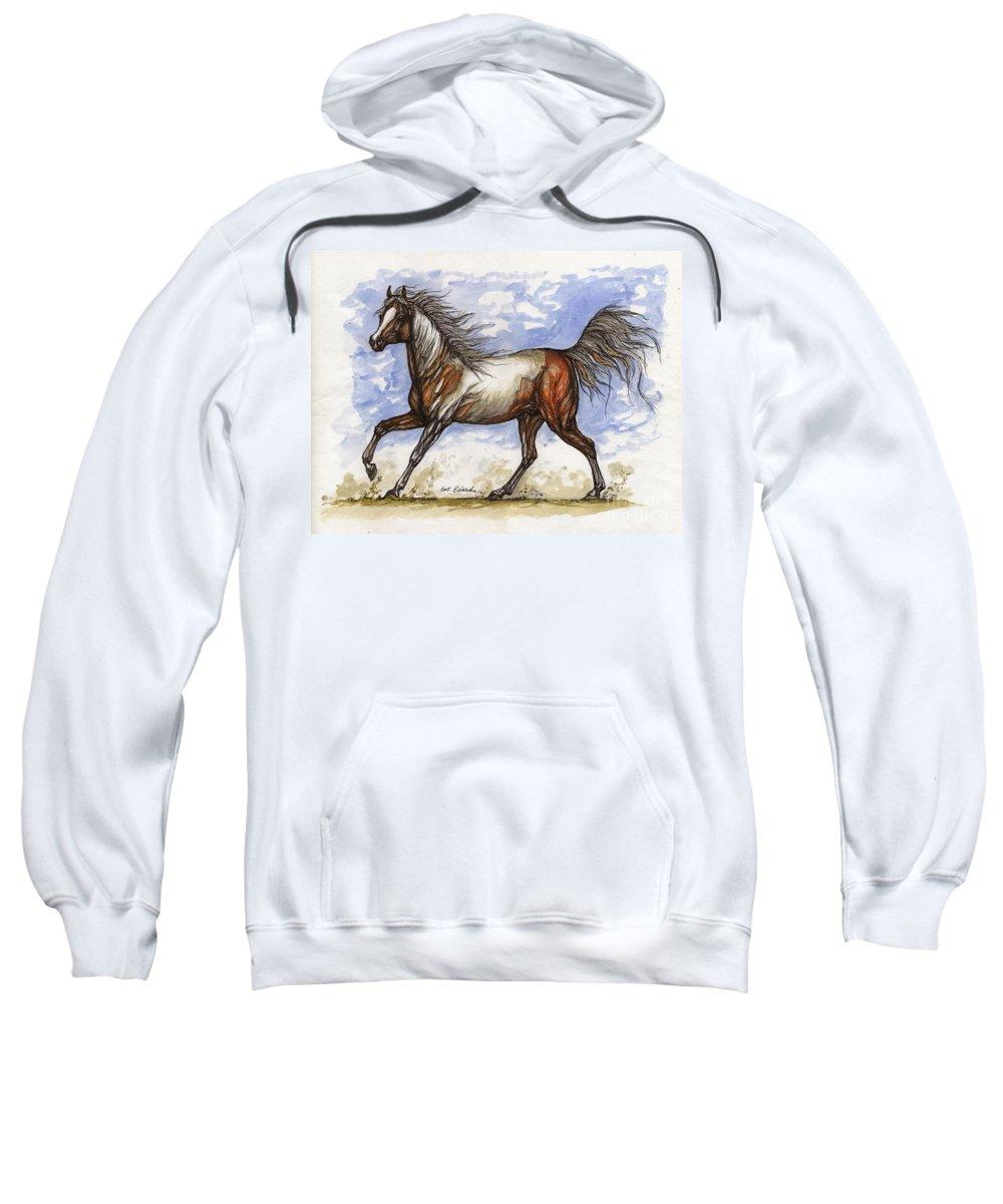 Wild Horse Sweatshirt featuring the painting Wild Mustang by Angel Ciesniarska