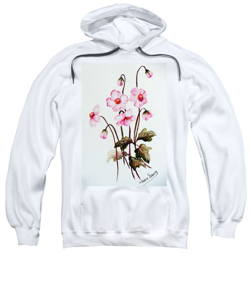 Florals Sweatshirt featuring the painting Wind Flowers by Karin Dawn Kelshall- Best