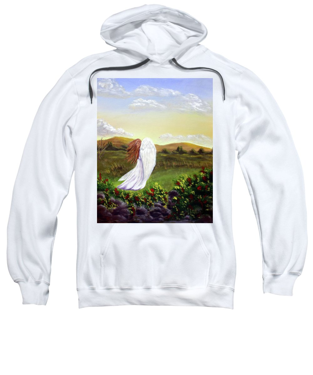 Angel Sweatshirt featuring the painting Windswept Angel by Dawn Blair