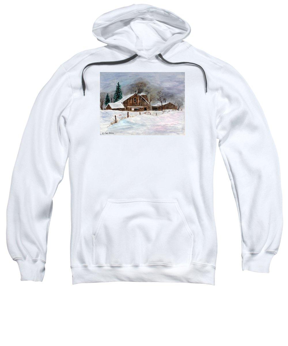 Barn Sweatshirt featuring the painting Winter Barns by Carol Komassa