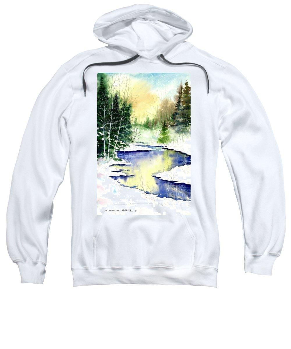 Winter Creek Sweatshirt featuring the painting Winter Creek by Steven Schultz