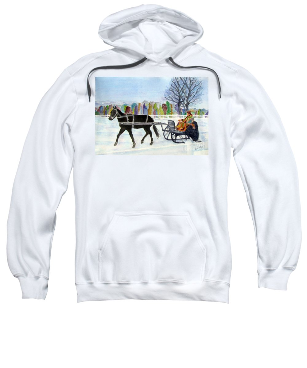 Winter Sweatshirt featuring the painting Winter Sleigh Ride by Carol Flagg