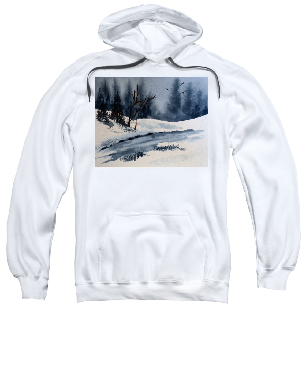 Winter Sweatshirt featuring the painting Winter by Wade Binford