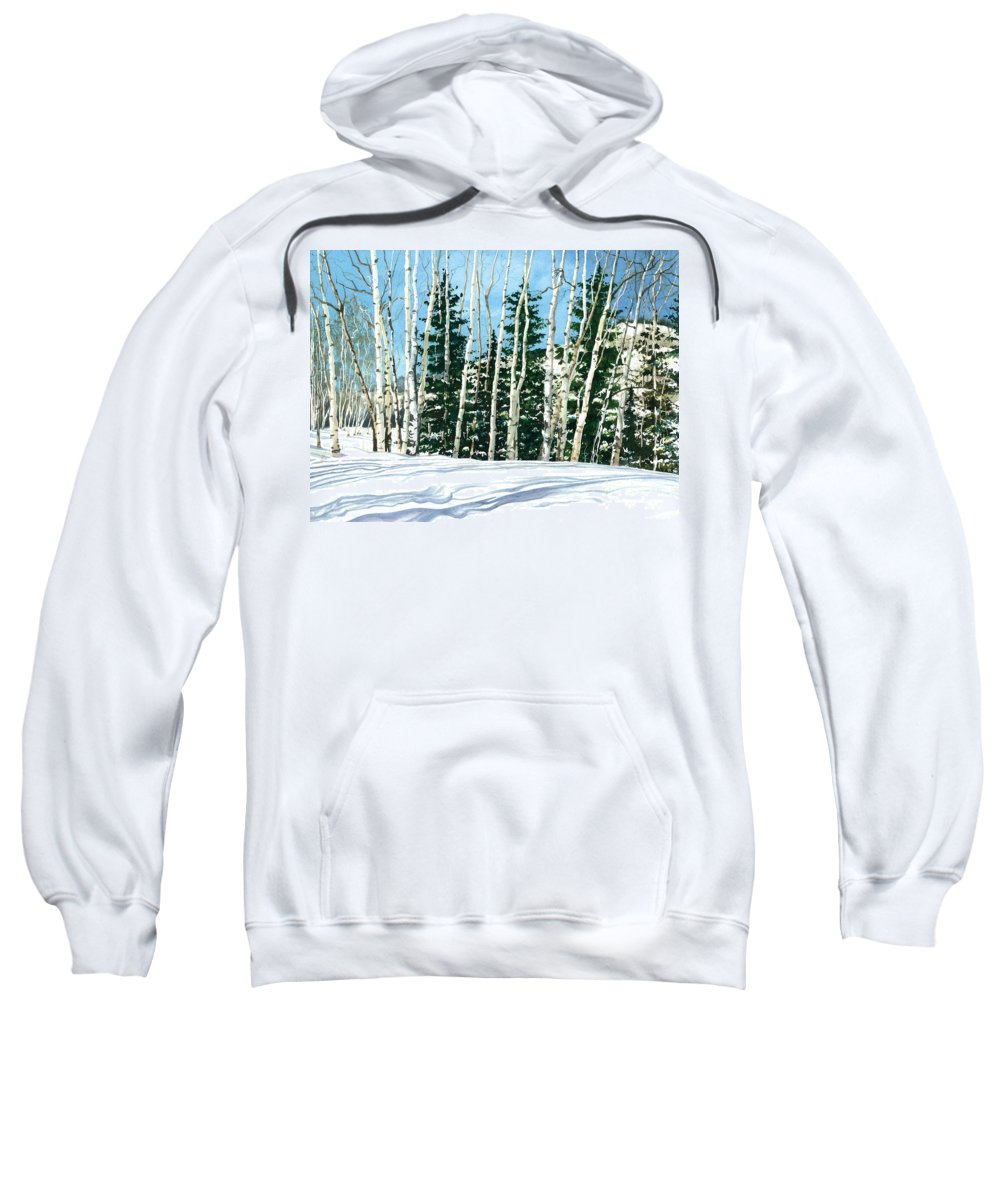 Water Color Paintings Sweatshirt featuring the painting Winter Walk by Barbara Jewell