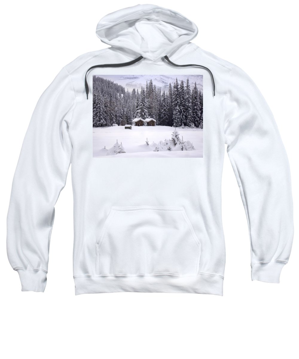 Mountain Sweatshirt featuring the photograph Forest Snow Blanketed Privies - Winter In Banff, Alberta by Ian Mcadie