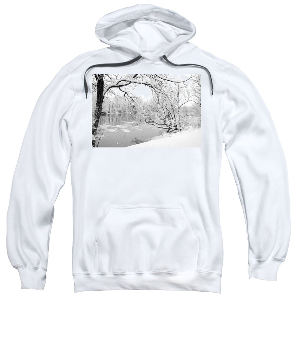Snow Sweatshirt featuring the photograph Winter Wonderland In Black And White by Tracy Winter