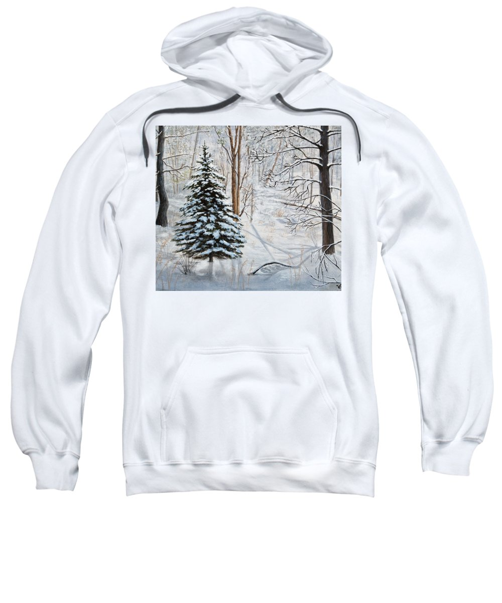 Winter Sweatshirt featuring the painting Winter's Peace by Vicky Path