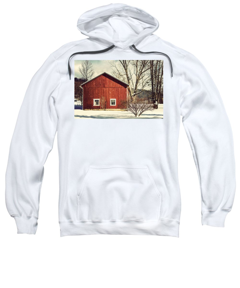 Red Barn Sweatshirt featuring the photograph Wise Old Barn Winter Time by Joshua Zaring
